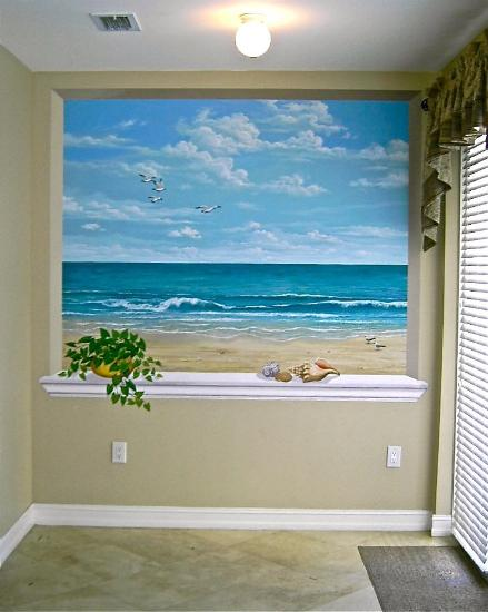 Mural mural on the wall inc for Beach mural curtains