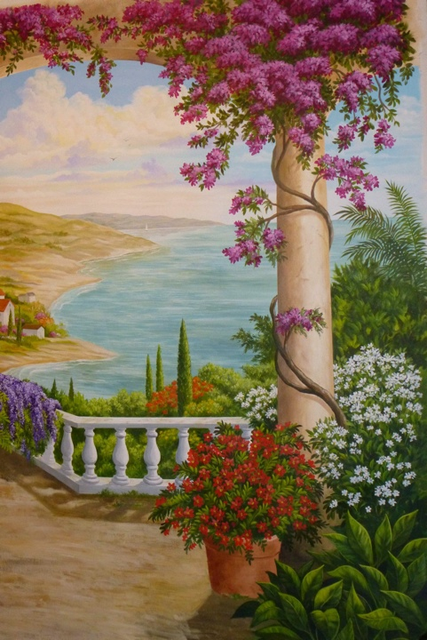 Tuscan Garden Mural, Mural Mural On The Wall Inc.