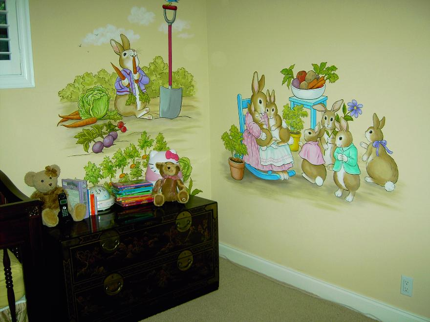 Kid's room mural, Peter Rabbit Mural