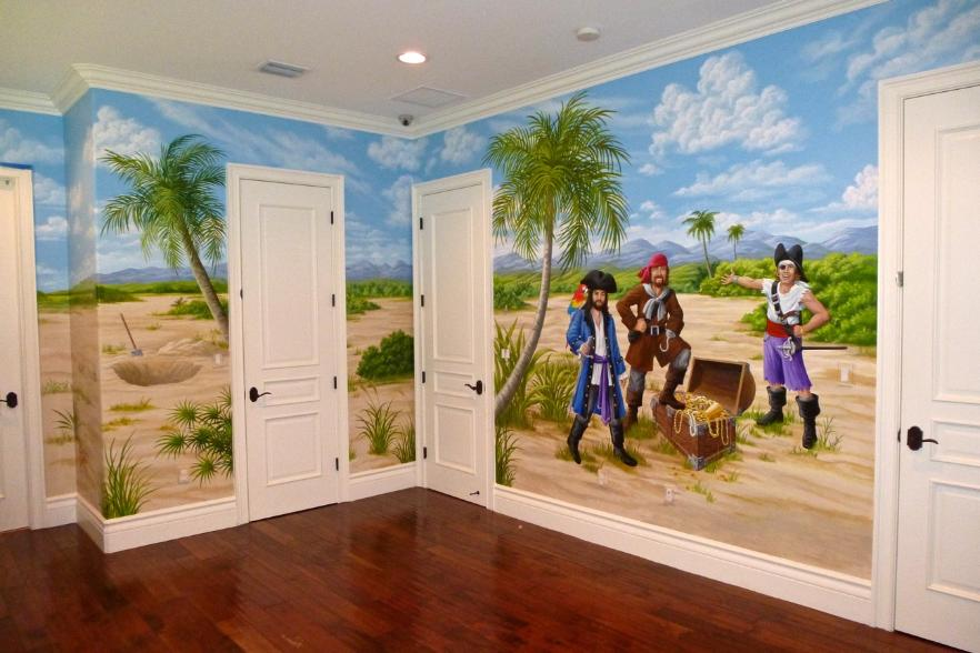 Pirates with Treasure, Murals for Children, Mural Mural On The Wall, Inc.