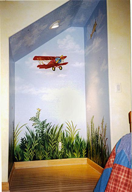 Boy's room mural - Airplane, by Mural Mural On The Wall, Inc
