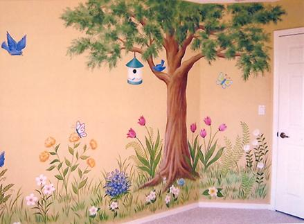 Tree, birds & butterflies mural for children, by Mural Mural On The Wall, Inc.