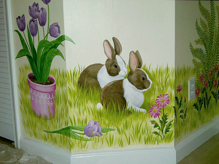 Baby's room mural - Little bunnies, by Mural Mural On The Wall, Inc.