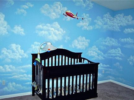 Airplane in the clouds mural - Mural Mural On The Wall, Inc.