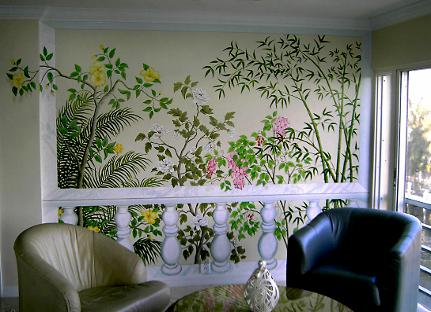 Decorative faux balustrade with foliage by Mural Mural On The Wall