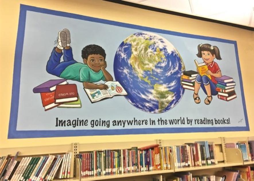 School Library Mural, Kids Reading Books, Mural Mural On The Wall Inc.