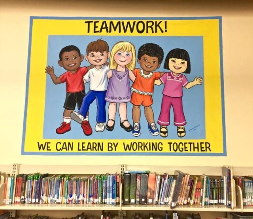 School Mural Promoting Teamwork,  Mural Mural On The Wall Inc.
