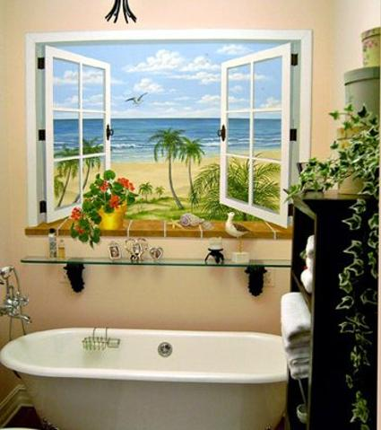 Bathroom Window Mural, Trompe L'oeil Mural, Mural Mural On The Wall, Inc.