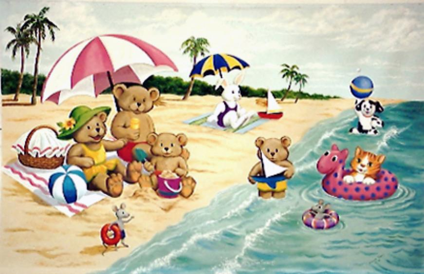 Teddybears at the Beach, Mural Mural On The Wall, Children's murals