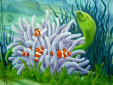 Mural Detail: Clown Fish and Eel,  Mural Mural On The Wall Inc