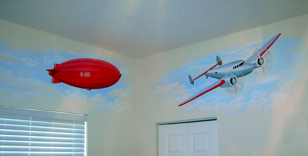 Mural depicting various aircraft.  Mural Mural On The Wall, Inc.