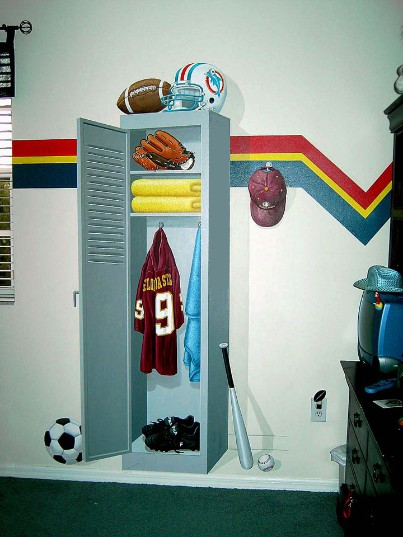 Mural for Boy's Room. Sports Locker.  Mural Mural On The Wall, Inc.