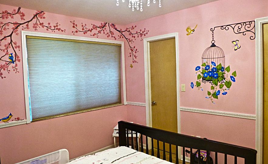 Hand painted Cherry Blossoms Mural, Mural Mural On The Wall, inc.