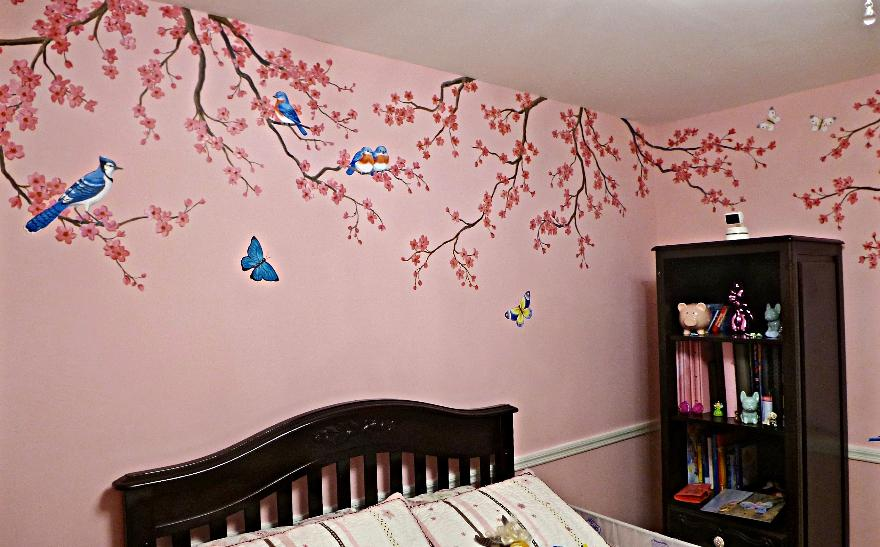 Birds and Cherry Blossoms Mural,  Mural for a girl's room