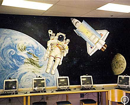 School Mural: Challenger Space Shuttle, Mural Mural On The Wall Inc.