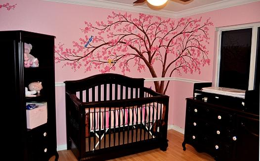 Cherry Blossom Tree mural for baby's nursery, by Mural Mural On The Wall, Inc.