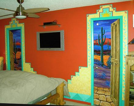 Mural: Southwestern Wall with Trompe L'Oeil Doors -  Mural Mural On The Wall Inc.