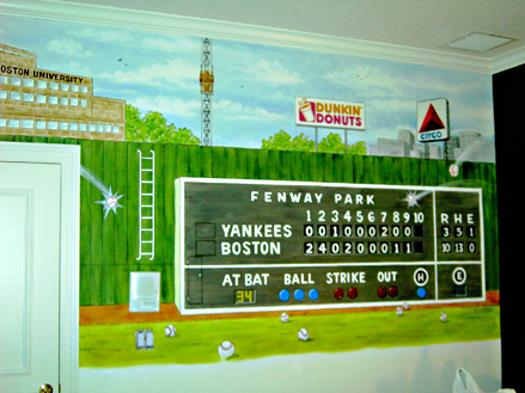 Fenway Park Scoreboard, mural by Mural Mural On The Wall, Inc.