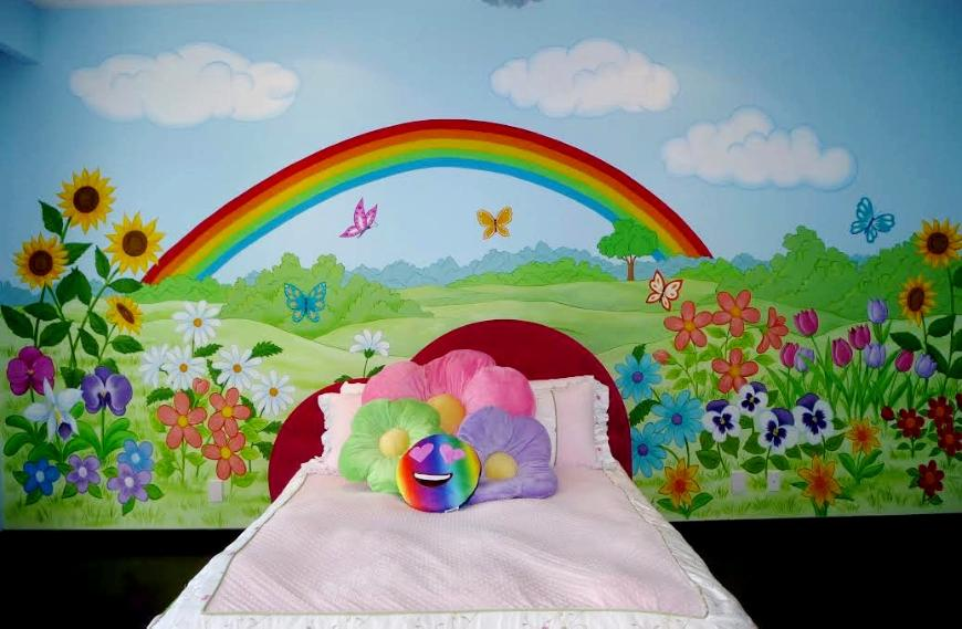 Rainbow and Flowers Mural, Mural for Girls, Mural Mural On The Wall, inc.