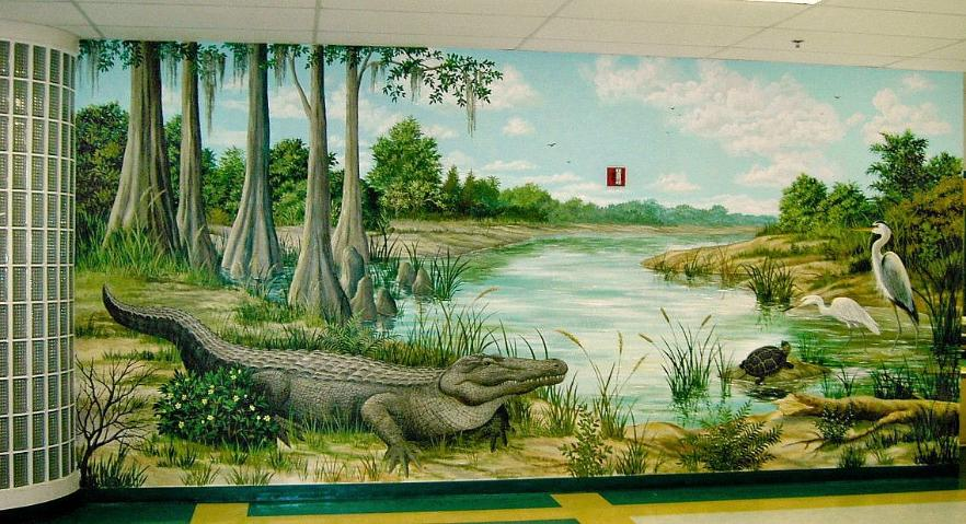 Alligator in Florida Everglades, Everglades Wildlife Mural
