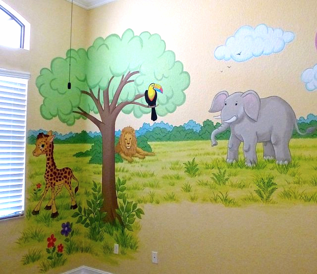 African Animals Mural, Murals for Children's rooms