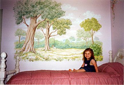 Child's mural:  Tree with swing.  Mural Mural On The Wall, Inc.