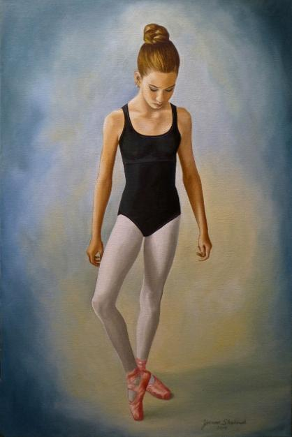 Ballerina Portrit in Oil, Ballet Dancer, Mural Mural On The Wall Inc.