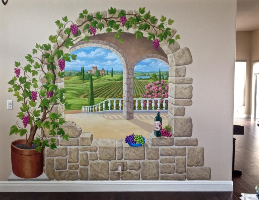 Trompe L' Oeil Archway to a Tuscan Landscape, Mural Mural On The Wall Inc.