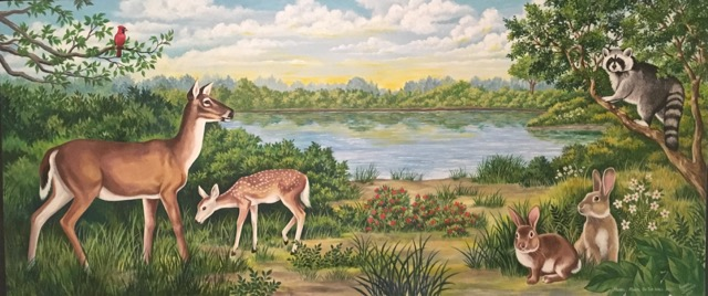 Doe with Fawn Mural, Wildlife Mural, Mural Mural On The Wall, Inc.