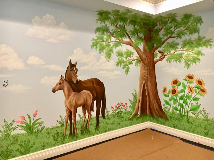 Mural with horses in Playroom, Mural Mural On The Wall, Inc.