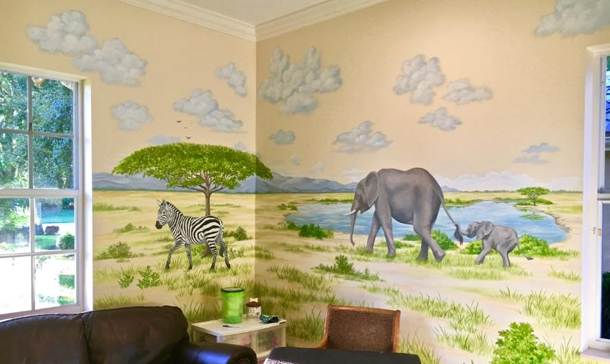 Zebra & Elephants - mural for children.  Mural Mural On The Wall, Inc.