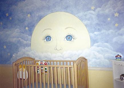 Mural for Nursery: Man in the Moon.  Mural, Mural On The Wall, Inc.