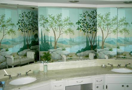 Landscape Mural Reflected In Mirrors, Mural Mural On The Wall Inc