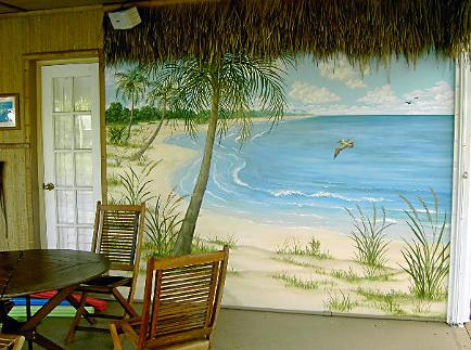 Beach Scene Mural on Patio Wall -  Mural Mural On The Wall Inc.