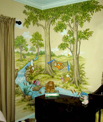 Mural for baby's nursery, Rabbits playing.  Mural Mural On The Wall, Inc.