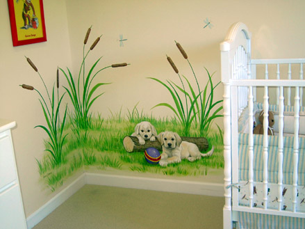 Baby's room mural - Puppies, by Mural Mural On The Wall, Inc.