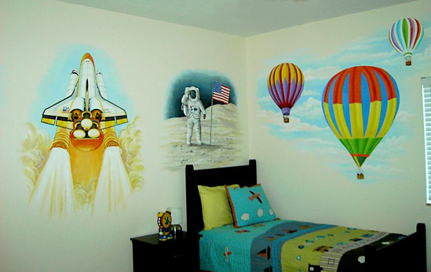 Mural for Boy's room.  Hot Air Balloons, airplanes.  Mural, Mural Mural On The Wall, Inc.