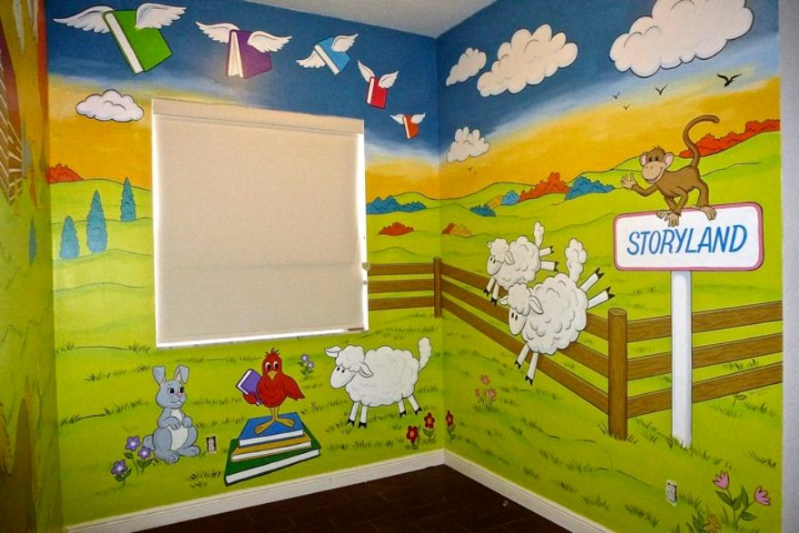 Storyland Child's Mural, Animals reading books, Mural Mural On The Wall, Inc.