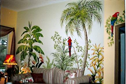 Tropical Flowers and Foliage Mural, Mural Mural On The Wall Inc.