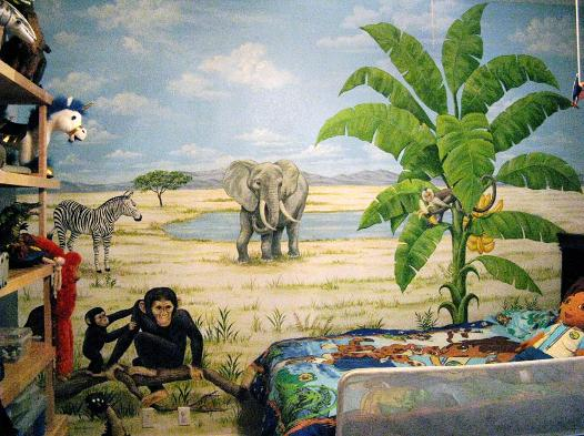 Mural for Kids: Safari animals.  Mural Mural On The Wall, Inc.