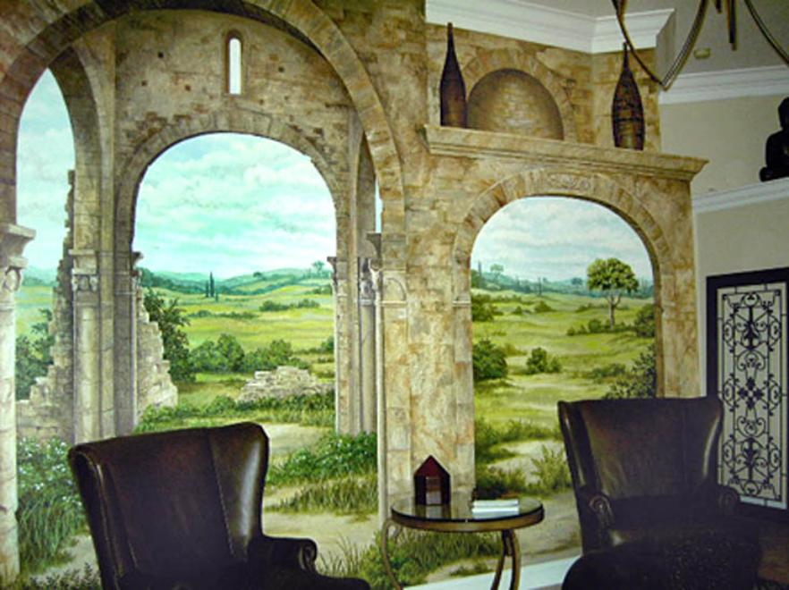 Trompe L' Oeil Mural: Tuscan Landscape View, Mural mural On The Wall Inc.