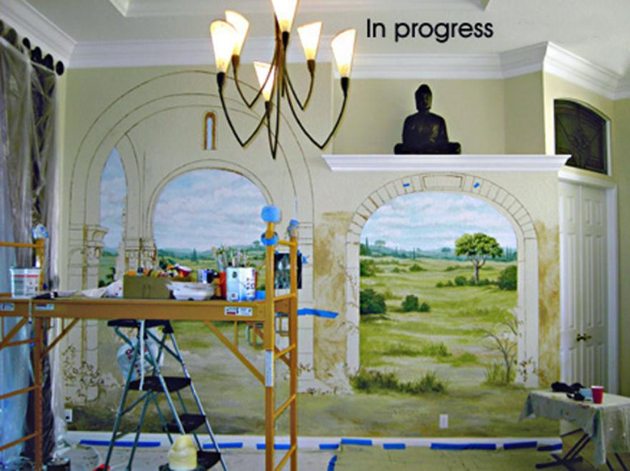 Trompe L' Oeil Tuscan Mural (In Progress), Mural Mural On The Wall Inc.