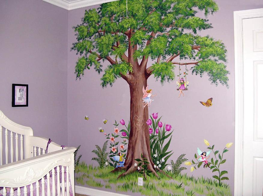 Tree Mural with Fairies - Mural Mural On The Wall, Inc.