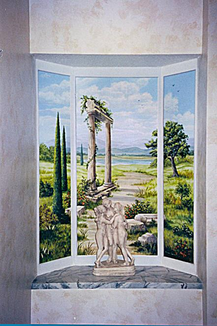 Faux Window with Roman Landscape, Mural Mural On The Wall Inc.