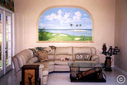 Trompe L'Oeil Windowl: Golf Course viewed through Window,  Mural Mural On The Wall, Inc.
