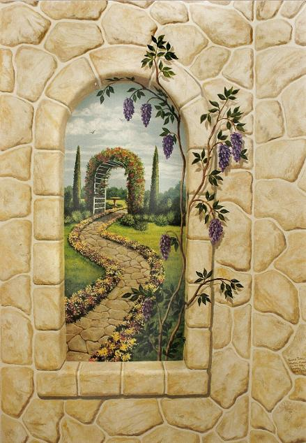 Trompe L'Oeil Stone Wall with Window, Mural Mural On The Wall Inc.