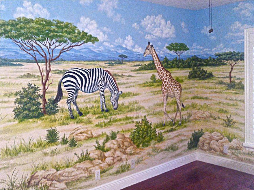 Safari Mural,  African Animals Mural, Children's murals
