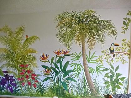 Mural: Palms and tropical flowers, Mural Mural On The Wall Inc.