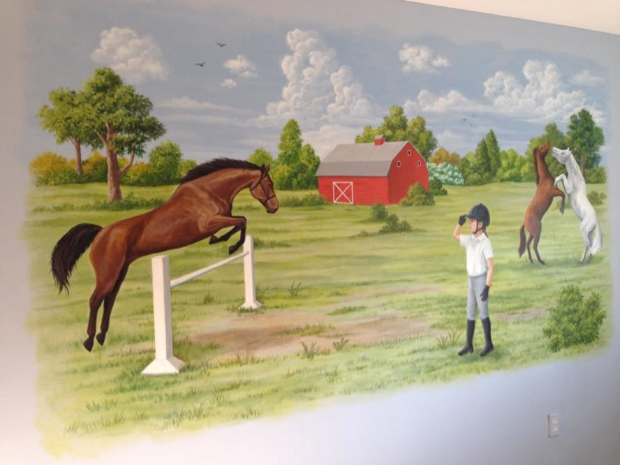 Mural of Horses jumping. child's room.  Mural Mural On The Wall, Inc.