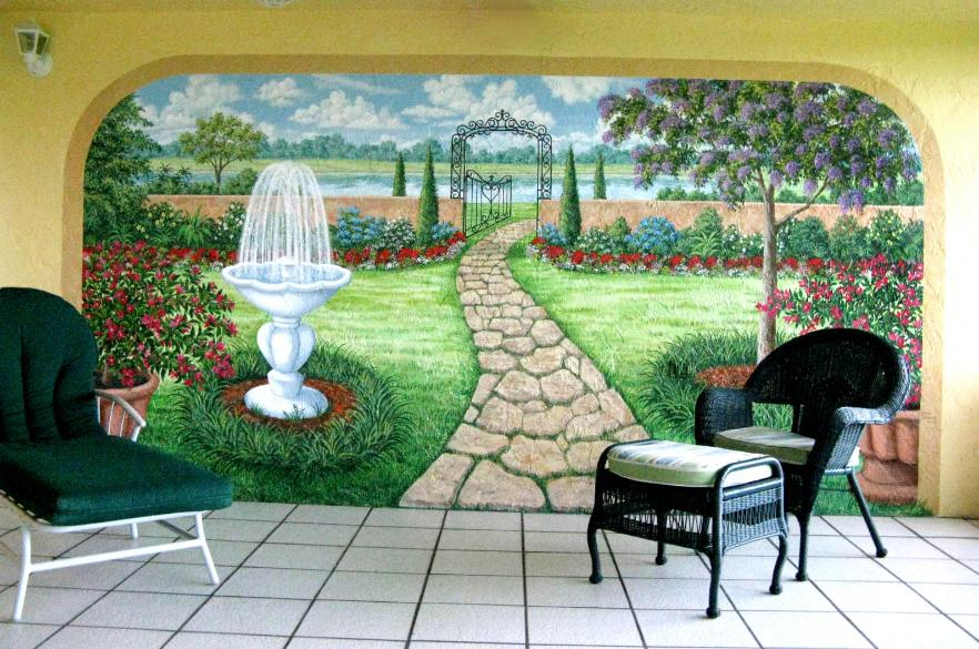 Mural: Garden With Fountain, Mural Mural On The Wall Inc.